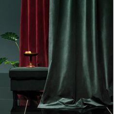 IKEA SANELA sammetsgardiner i mörkgrönt och mörkrött Ikea, Curtains, Mood, Home Decor, Blinds, Decoration Home, Ikea Co, Room Decor, Draping