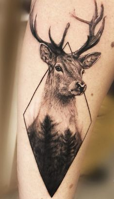 For Curtis? The Effective Pictures We Offer You About dog Hunting Tattoos A quality picture can tell Deer Skull Tattoos, Elephant Tattoos, Wolf Tattoos, Animal Tattoos, Deer Hunting Tattoos, Deer Head Tattoo, Geometric Tattoo Animal, Geometric Tattoo Nature, Elk Tattoo