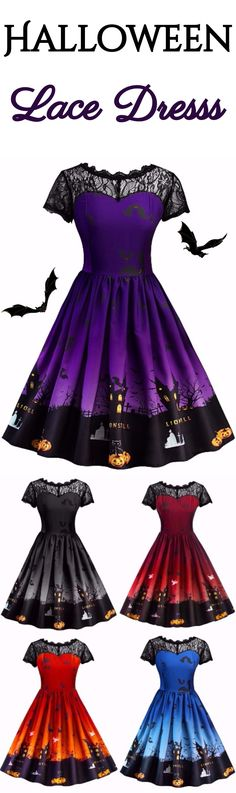 Happy Halloween | $15.03 |  Halloween Vintage Lace Insert Pin Up Dress | Sammydress.com