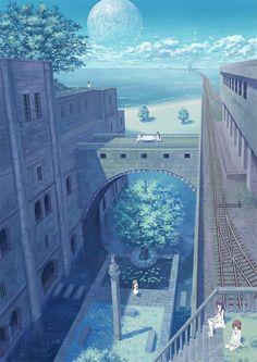 My unrequited love Wonderful whimsical fantasy landscape art Fantasy Places, Fantasy World, Fantasy Art, Fantasy Landscape, Landscape Art, Aesthetic Anime, Aesthetic Art, Beach Aesthetic, Anime Places