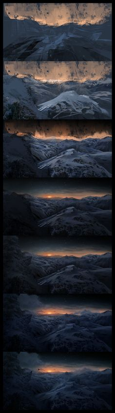 Sunrise Mountains Steps by Lapec painting drawing resource tool how to tutorial instructions | Create your own roleplaying game material w/ RPG Bard: www.rpgbard.com | Writing inspiration for Dungeons and Dragons DND D&D Pathfinder PFRPG Warhammer 40k Star Wars Shadowrun Call of Cthulhu Lord of the Rings LoTR + d20 fantasy science fiction scifi horror design | Not Trusty Sword art: click artwork for source