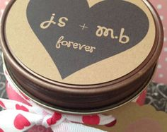 NEW Valentine's Day Soy Candles~ 8 oz Mason Jar and Rustic Lid~Valentine's Decor~Choose your Scent~Personalized Valentine's Gift~Name Candle