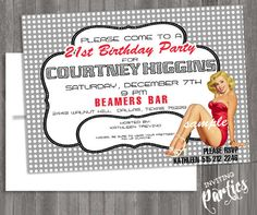 Vintage Pin Up Girl Invitation- Bachelorette party, Hens night, Lingerie Shower Birthday invite diy print file PRINTED optional. $15.99, via Etsy.