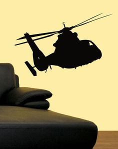 Helicopter Army Military Decor Vinyl Sticker Decal 3ft | eBay Boys Army Bedroom, Army Room Decor, Military Decorations, Bedroom Themes, Silhouette Projects, Kids Decor, Vinyl Wall Decals, Boy Room, Home Deco