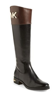Stockard Two-Tone Leather Riding Boot | black, brown | Style It ...