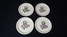 "4 VTG 1980s Pfaltzgraff Village Brown Design on Cream 4 ¼"" Coasters DISCONTINUED"