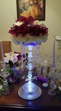 Dollar tree bowls, candlestick holders, and tap lights made into wedding centerp. Dollar tree bowls, candlestick holders, and tap lights made into wedding centerpiece. Dollar Tree Centerpieces, Tree Wedding Centerpieces, Dollar Tree Decor, Dollar Tree Crafts, Floral Centerpieces, Table Centerpieces, Wedding Decorations, Craft Wedding, Wedding Table
