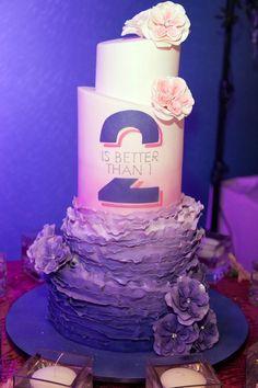 Twins Pink & Purple Ombre Bat Mitzvah Cake {Pink Cake Box} at Vegas NJ - mazelmoments.com