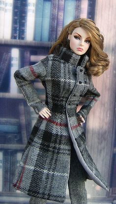 Fashion Royalty doll wearing a gorgeous plaid coat.
