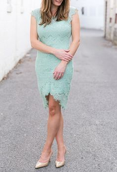 Wedding guest look: Mint Lace Green Cocktail Dress from ModCloth | Photo by brittneykreider.com