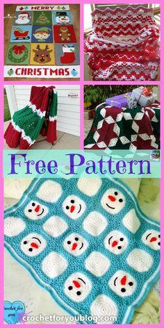 8 Crochet Christmas Blankets - Free Patterns We are wan Christmas Crochet Blanket, Christmas Afghan, Crochet Christmas Gifts, Crochet Gifts, Christmas Crafts, Holiday Crochet Patterns, Crochet Square Patterns, Crochet Hood, Free Crochet