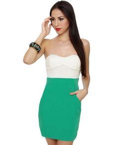 Cute Strapless Dress - Sea Green Dress