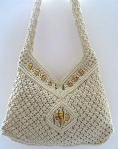 Vintage Macrame Festival Shoulder  Bag With by TheOldBagOnline, $36.99