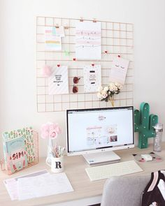 Feminine an chic home office decor and accessories. - Home Office Inspiration - Study Room Decor, Cute Room Decor, Study Rooms, Study Desk, Home Office Design, Home Office Decor, Home Decor, Office Ideas, Office Furniture
