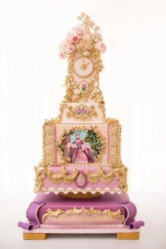 CAKE ART~ Rococo Wedding Cake ~ hand pained, gumpaste roses and hand gilded
