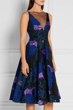 Multicolored fil coupé, black organza Concealed hook and zip fastening at back 90% polyester, 5% silk, 5% polyamide; trim: 100% polyester Dry clean Designer color: Lapis Multi Large to size. See Size & Fit notes.