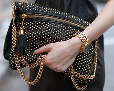 Black & Gold Rebecca Minkoff clutch