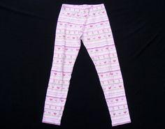 GIRLS' GYMBOREE Printed Leggings, Pink Stripes Heart Pattern 100% Cotton, Size 8 #Gymboree