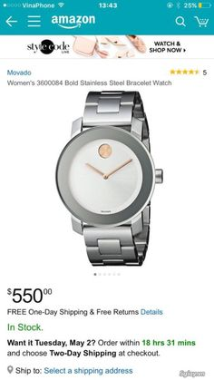New Movado Bold Stainless Steel 36mm Unisex Watch