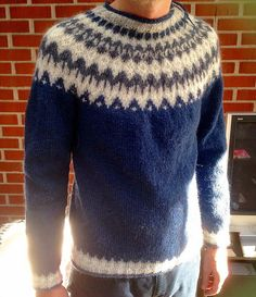 Ravelry: Project Gallery for Riddari pattern by Védís Jónsdóttir Oven Design, Hand Knitting, Ravelry, Projects To Try, Men Sweater, Inspiration, Pattern, Sweaters, Blue