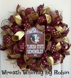Florida State University Seminoles Garnet and Gold Deco Mesh Wreath, NOLES, Sports Wreath, Collegiate, Football by WreathWhimsybyRobin on Etsy