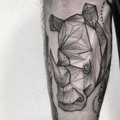 Rhino tattoo by Fin T. Rhino Tattoo, Elephant Tattoos, Animal Tattoos, Trendy Tattoos, Unique Tattoos, Tattoos For Guys, Afrika Tattoos, Dinosaur Tattoos, Unique Tattoo Designs
