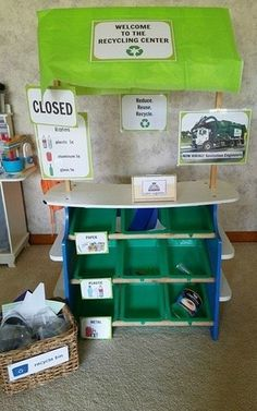 Create a pretend play Recycling Center for your Dramatic Play Space. Pefect for the Preschool aged children in your care.