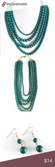 Layered Green Bohemian Necklace Set Just in time for summer, this gorgeous layered necklace features five in one beaded necklace layers in various sizes. Solid color allows you to match this statement piece with various tops. Adjustable closure with gold hardware. Earrings included. Love Sparkles & Co.  Jewelry Necklaces