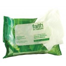 Faith In Nature 3 In 1 Facial Wipes Naturally Gentle Cleanse, Moisturise & Remove Make-up 25 Wipes