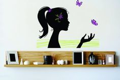 Vinyl Wall Decal Sticker : Barbie Girl Ponytail Butterfly Flower Bedroom Bathroom Living Room Picture Art Peel & Stick Mural - Discounted Sale Price Size: : 40 Inches X 60 Inches - 22 Colors Available Design With Vinyl Decals http://www.amazon.com/dp/B00KRG5CJG/ref=cm_sw_r_pi_dp_MFN.tb1G51QVW