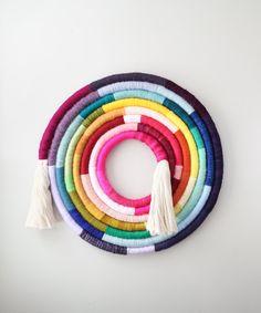 Imaginative, Colorful Fiber Art From Mandi Smethells Macrame Wall Hanging Diy, Weaving Wall Hanging, Macrame Art, Wall Hangings, Pom Pom Crafts, Yarn Crafts, Diy Crafts, Yarn Wall Art, Craft Ideas