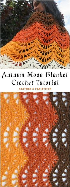 Autumn Moon Blanket/Scarf Crochet Tutorial Crochet afghan DIY Blanket Scarf No Sew Tutorial Crochet Fall, Free Crochet, Free Knitting, Crochet Blanket Patterns, Crochet Stitches, Scarf Patterns, Afghan Patterns, Stitch Patterns, Knitting Patterns