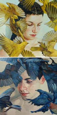 Artist: Meghan Howland - featured on The Jealous Curator {contemporary two human heads with yellow and blue birds portrait faces paintings}