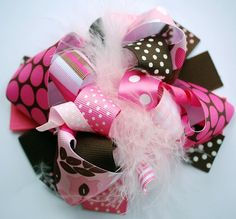 boutique FANCY in FALL FUNKY fun hair bow clip by andjane on Etsy, $12.99