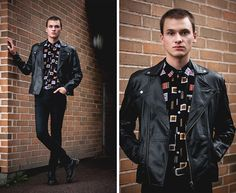 Mtwtfss Leather Jacket, Cheap Monday Skinny Jeans, Dr. Martens Leather Boots, Vintage Printed Shirt, Zara Leather Belt
