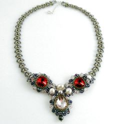 "Pink Red Crystal Necklace Beaded Swarovski by ThezoraArtBijoux Use ""PINTEREST"" coupon at check-out and get 10% OFF!"