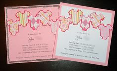 Baby shower invites created with Silhouette Cameo