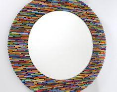 Espejo cuadrado colorido de revistas por colorstorydesigns en Etsy