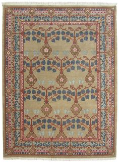 I don't think this retailer knows the original name for this design was The Rose. This piece was designed by the famed architect and designer C. F. A. Voysey. 9x12 handknotted rug for $2329.
