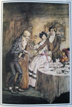 "Arthur Rackham's Christmas Carol 12    ""Why bless my soul!"" cried Fred. ""Who's that?  ""It is I, your Uncle Scrooge. I have come to dinner. Will you let me in Fred?"""