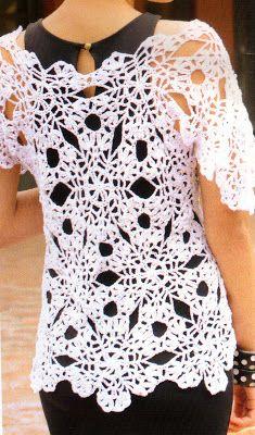 tejidos artesanales en crochet: remera blanca en crochet con puro estilo (talle 2)