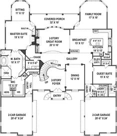 House Plan 72171 - European, French Country Style House Plan with 6072 Sq Ft, 6 Bed, 7 Bath, 4 Car Garage French Country House Plans, European House Plans, Luxury House Plans, Dream House Plans, House Floor Plans, Barndominium Floor Plans, Staircase Design, House Layouts, Luxurious Bedrooms