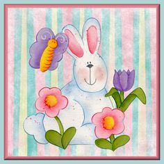 Easter bunny stripes pastel