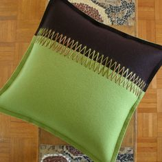 Felt Decorative Pillow in Green and Brown by fuzzylogicfelt, .00