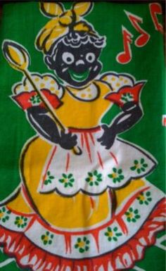 Vintage Black Americana Mammy Aunt Jemima Tea Towel Tablecloth Black Memorabilia
