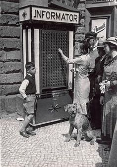 Berlin, Germany  Automated information booth on Kurfürtstendamm with 180 buttons giving information on shops, police stations, consulates, ministries, theatres etc. free of charge.  Photo, c.1925.