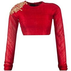 Fabron dori work red long sleeve unstitched blouse for women