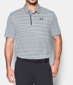 Men's UA CoolSwitch Jacquard Polo, OVERCAST GRAY, Front