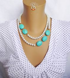Turquoise blue, white pearl necklace, Pearl Jewelry, Beaded Bride Jewelry, Wedding Necklace – My All Pin Page Bead Jewellery, Beaded Jewelry, Jewelry Necklaces, Handmade Jewelry, Bracelets, Chunky Bead Necklaces, Personalized Jewelry, Handmade Necklaces, Golden Jewelry