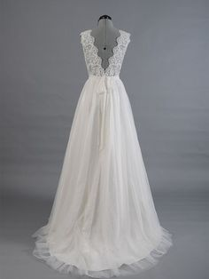 Real Made V-Neck Lace Wedding Dresses,Sexy Wedding Dresses,The Charming A-Line Wedding Dress,Wedding on Luulla